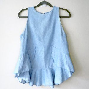 English Factory Chambray Flounce Ruffle Spring Top